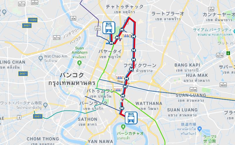 バンコク136番のバスルート