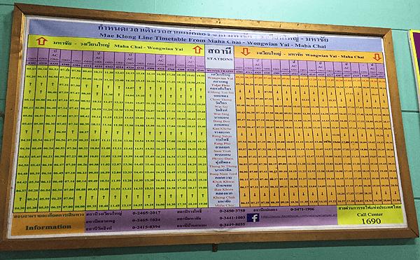 タイ国鉄ウォンウェン・ヤイ時刻表