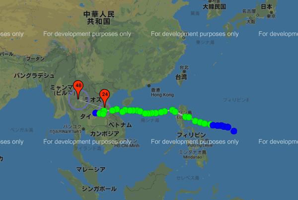 台風12号の進路図