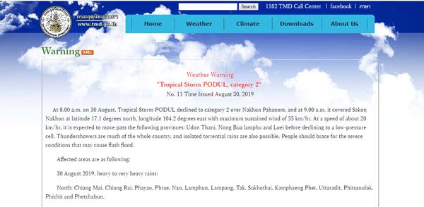 タイ気象庁の台風の注意事項